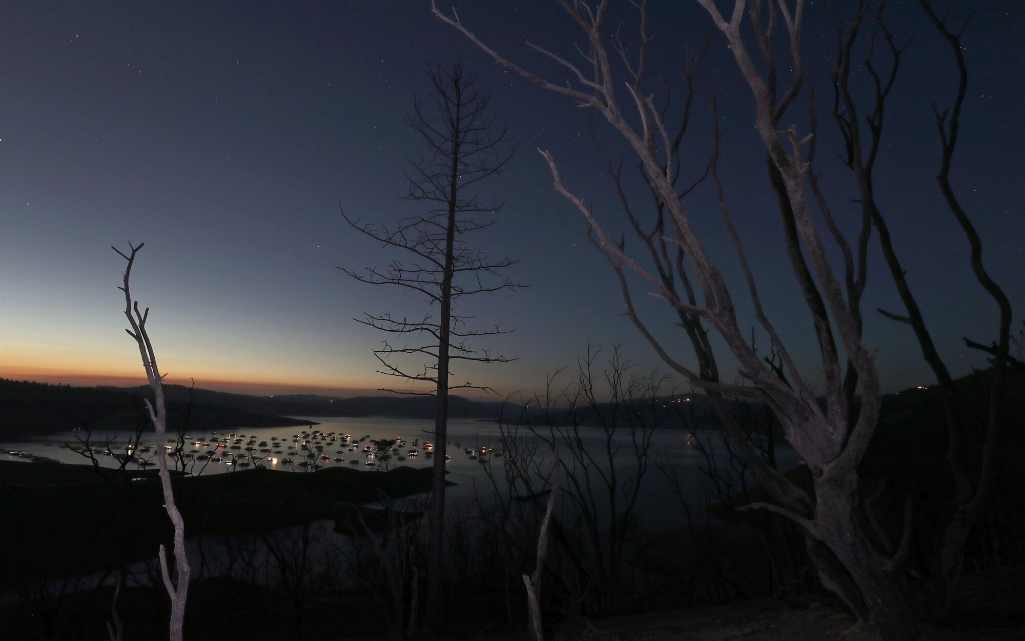 Charred landscape around Lake Oroville, Calif.