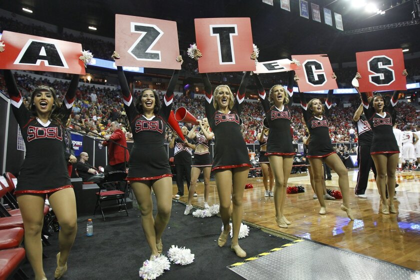 The SDSU dance team cheers on the Aztecs against UNLV.