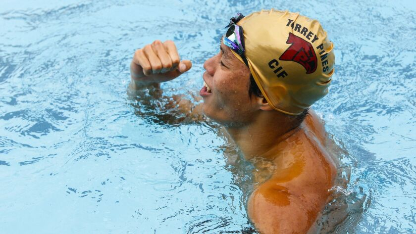 Torrey Pines' Kaito Koyama is a defending champ in the 100 breast (57.31).