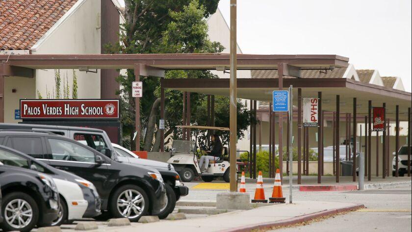 PALOS VERDES ESTATES, CALIF. - MAY 15, 2019. Exterior of Palos Verdes High School, A social media po