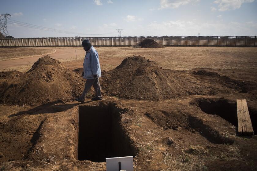 Freshly dug graves at the Honingnestkrans Cemetery in South Africa