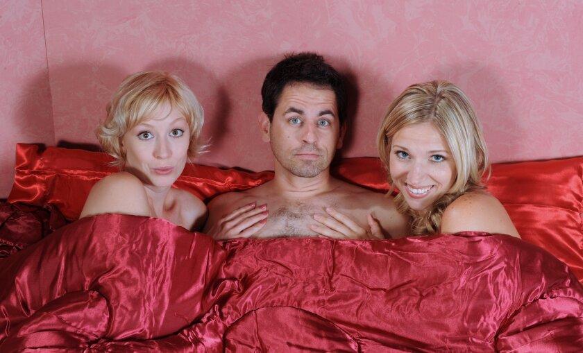 "Amanda Schaar, Christopher M. Williams and Brenda Dodge (left to right) in Robin Hawdon's ""Perfect Wedding."""
