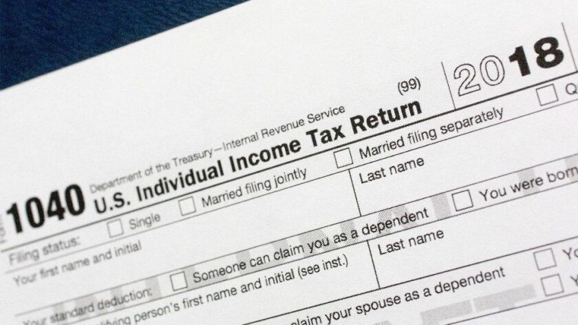 A portion of the 1040 income tax return form for 2018.