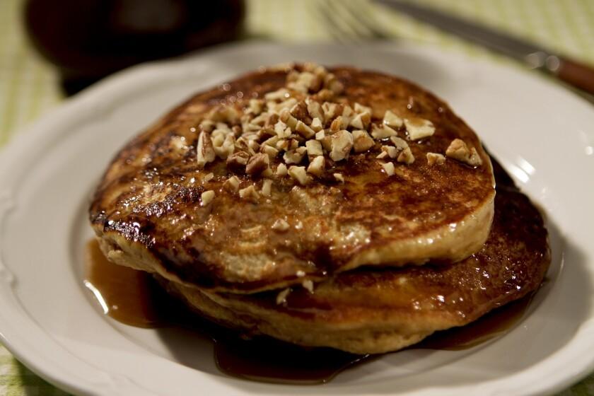 Recipe: Sweet potato pancakes with brown sugar butter sauce.