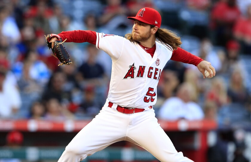 Angels starter Dillon Peters delivers during the second inning of a 4-3 loss to the Cleveland Indians on Wednesday.