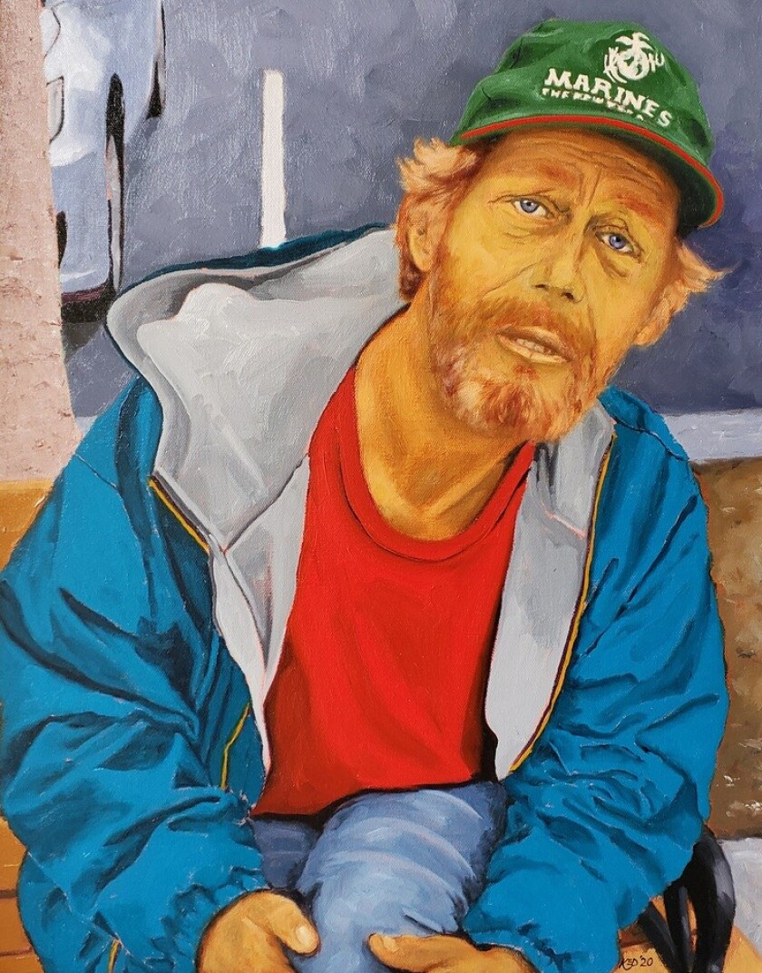 """Sean, by the USS Midway Museum, is one of the """"Faces on the Streets of San Diego,"""" painted recently by artist Kyle Denning."""