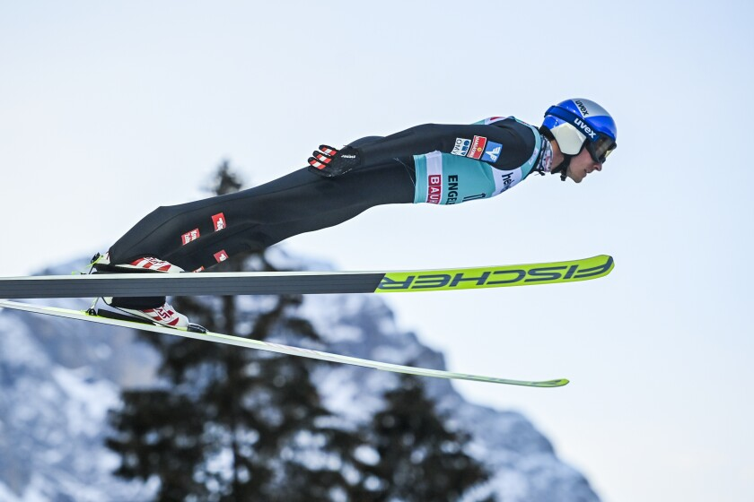 FILE - In this Sunday, Dec. 20, 2020 file photo, Gregor Schlierenzauer of Austria in action at the men's ski jumping FIS World Cup at the Titlisschanze in Engelberg, Switzerland, Sunday. Ski jumping record-holder Gregor Schlierenzauer has retired only a few months before trying to compete at his fourth Olympics. The 31-year-old Austrian is a two-time winner of both the overall World Cup title and the prestigious Four Hills tournament. He says he made his decision after having time to reflect during his latest injury. (Gian Ehrenzeller/Keystone via AP, File)