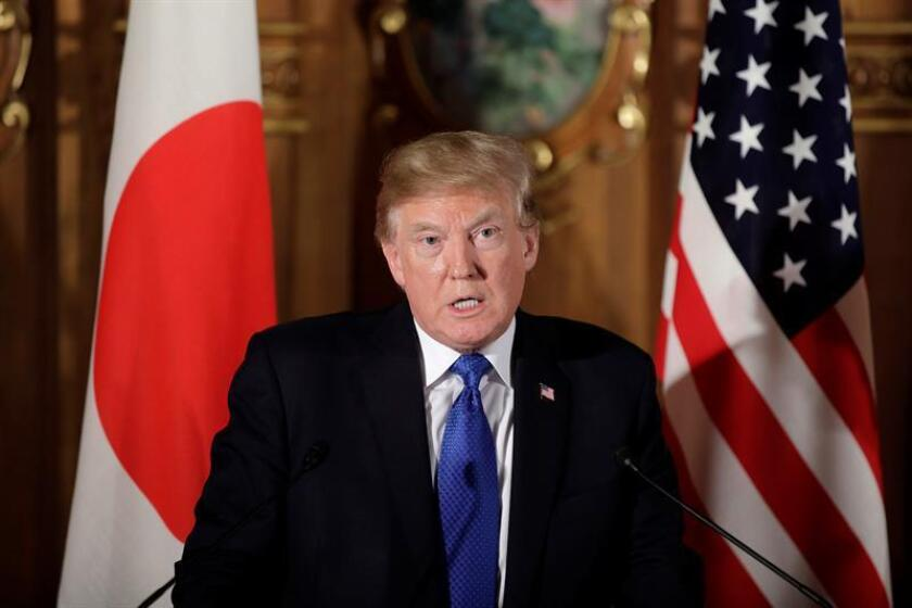 US President Donald J. Trump speaks during a news conference with Prime Minister of Japan Shinzo Abe (not pictured) at Akasaka Palace in Tokyo, Japan, 06 November. EFE