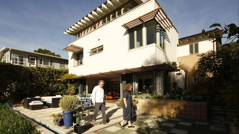 SANTA BARBARA, CA - DECEMBER 01, 2017: Backyard of the Santa Barbara home of architect Kevin Dumain