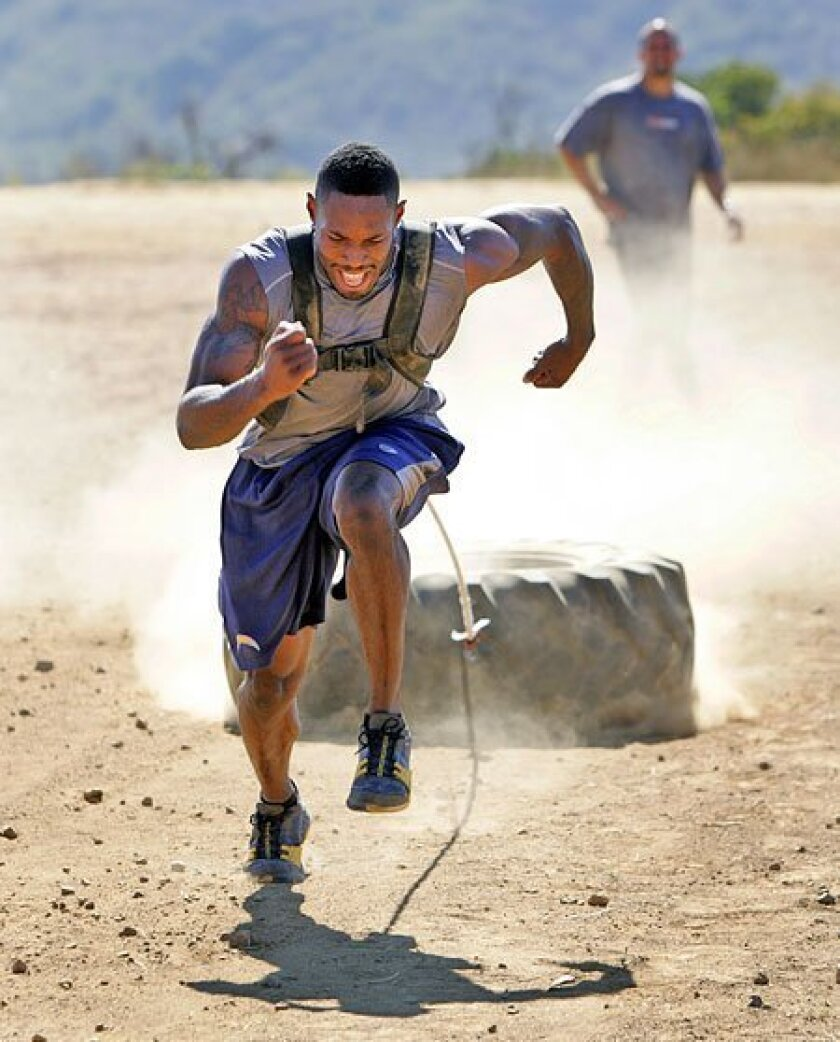 To return to his 2007 form, Chargers cornerback Antonio Cromartie has rededicated himself with an extreme, albeit unorthodox, workout regimen. (K.C. Alfred / Union-Tribune)