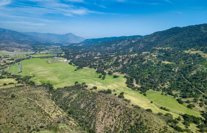 A wide view of hills and trees in Ojai