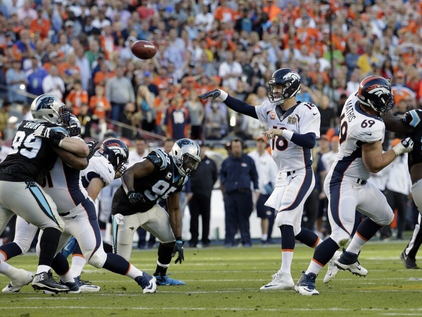 Denver Broncos' Peyton Manning (18) throws the ball during the first half of the NFL Super Bowl 50 football game Sunday, Feb. 7, 2016, in Santa Clara, Calif. (AP Photo/Matt York)