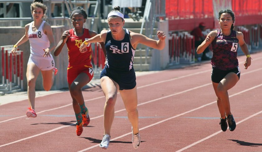 Callista Fletcher of Scripps Ranch wins Race 3 of the girls 100 meters at Saturday's Mt. Carmel Invitational.