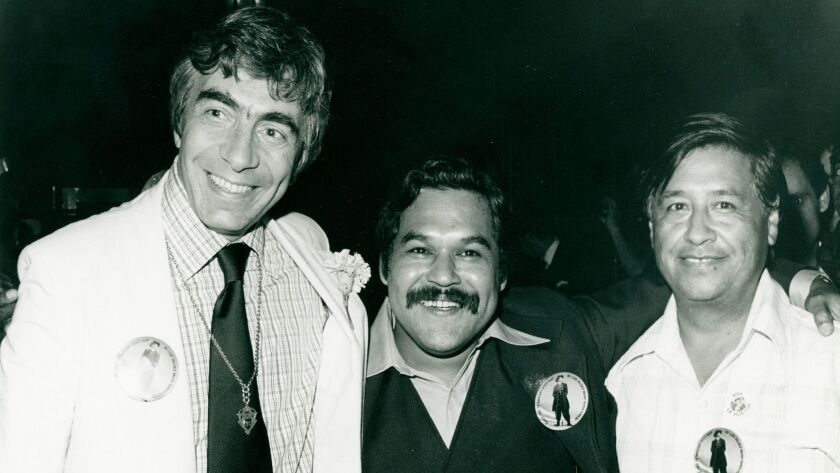 """""""Zoot Suit"""" playwright Luis Valdez in 1978, flanked by Gordon Davidson, left, and César Chavez."""