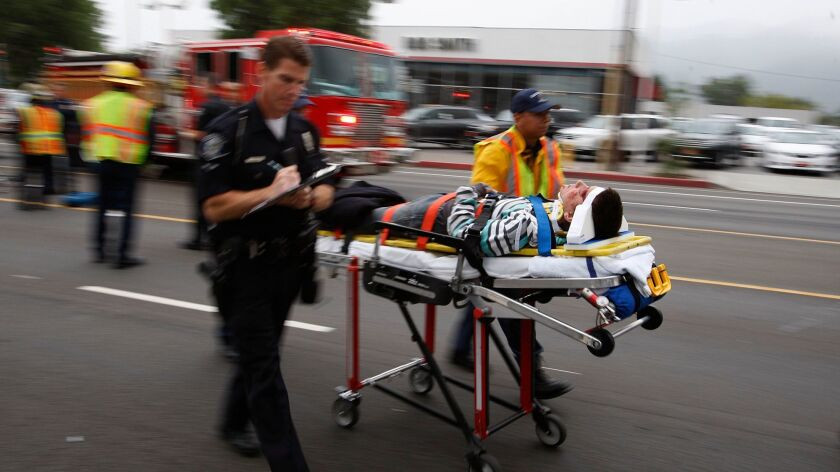 A 16-year-old cyclist is rushed to Huntington Memorial Hospital after being struck by a van.
