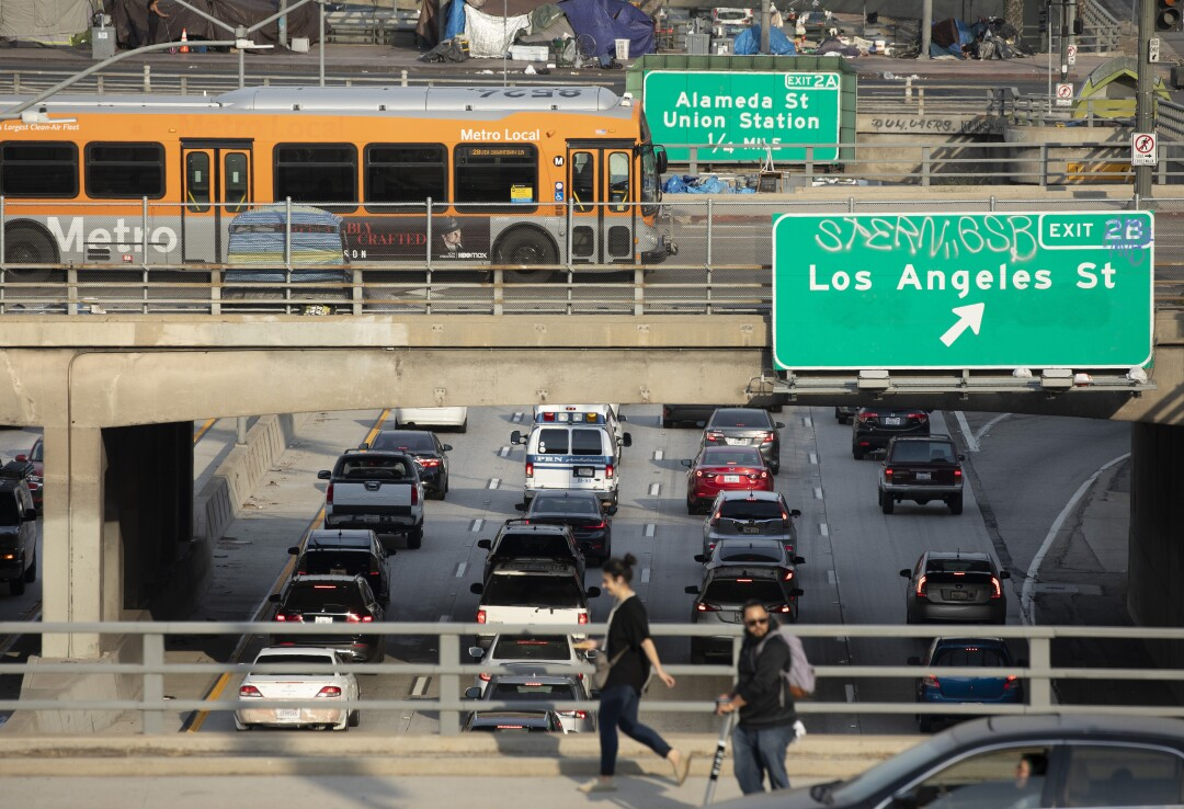 Afternoon traffic crawls along the 101 Freeway through downtown Los Angeles on June 16.