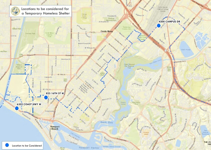 Newport Beach potential shelter map