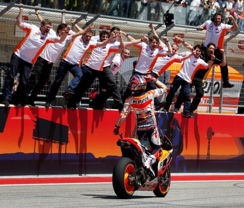 Repsol Honda Team rider Marc Marquez of Spain and his team celebrate Marquez' win at the MotoGP race at the Motorcycling Grand Prix of the Americas at Circuit of the Americas in Austin, Texas, USA 22 April 2018. Marquez won the race, his sixth consecutive win at the track. EFE