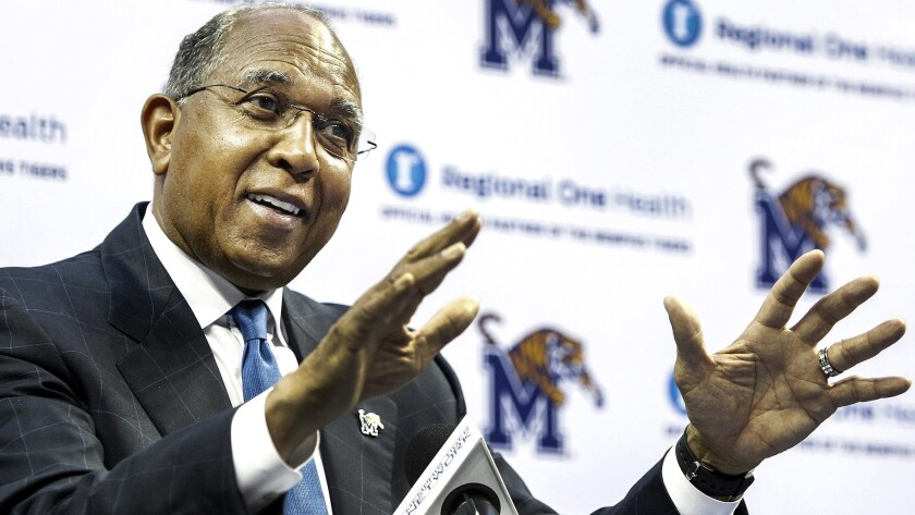Tubby Smith answers a question during his introductory news conference Thursday at Memphis.