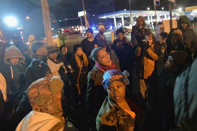 A December protest in a St. Louis County suburb.