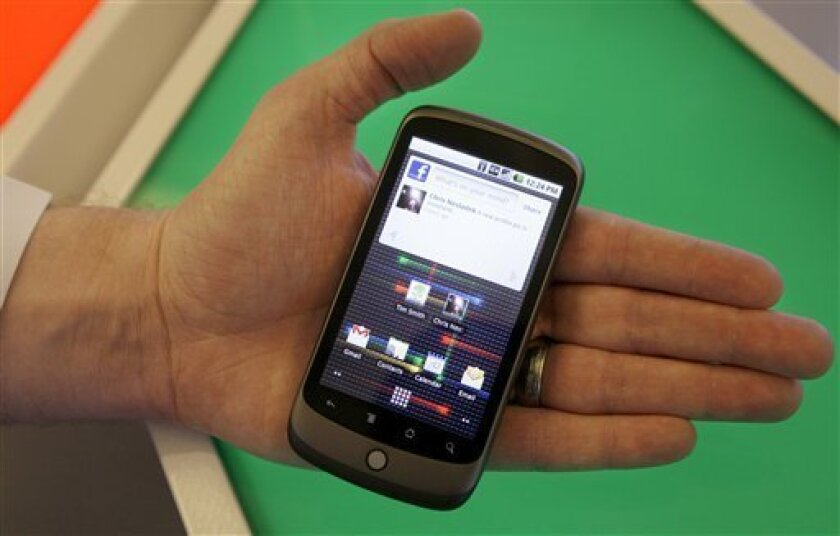The Nexus One phone from Google Inc. is shown at a demo in Mountain View, Calif., Tuesday, Jan. 5, 2010. (AP Photo/Jeff Chiu)