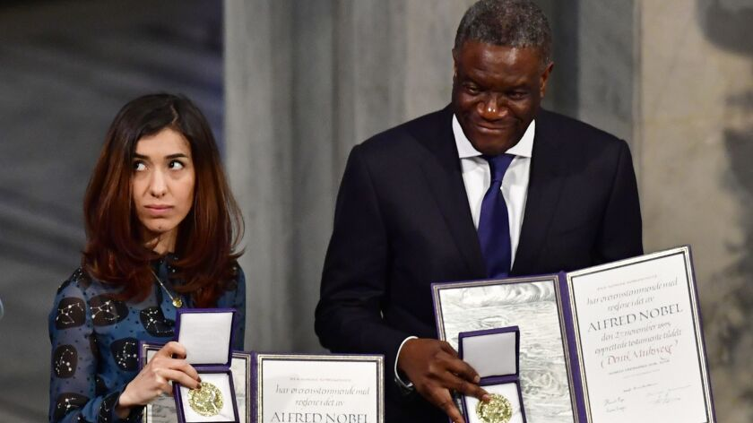 Nobel Peace Prize laureates Nadia Murad and Dr. Denis Mukwege at the award ceremony Monday in Oslo.