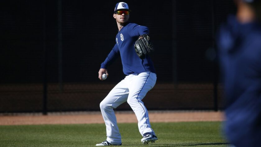 Padres outfielder Wil Myers goes through drills during spring training.