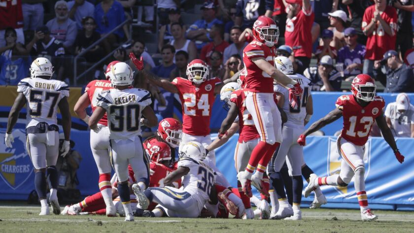 CARSON, CA, SUNDAY, SEPTEMBER 9, 2018 - Chiefs players celebrate after recovering a fumbled punt by