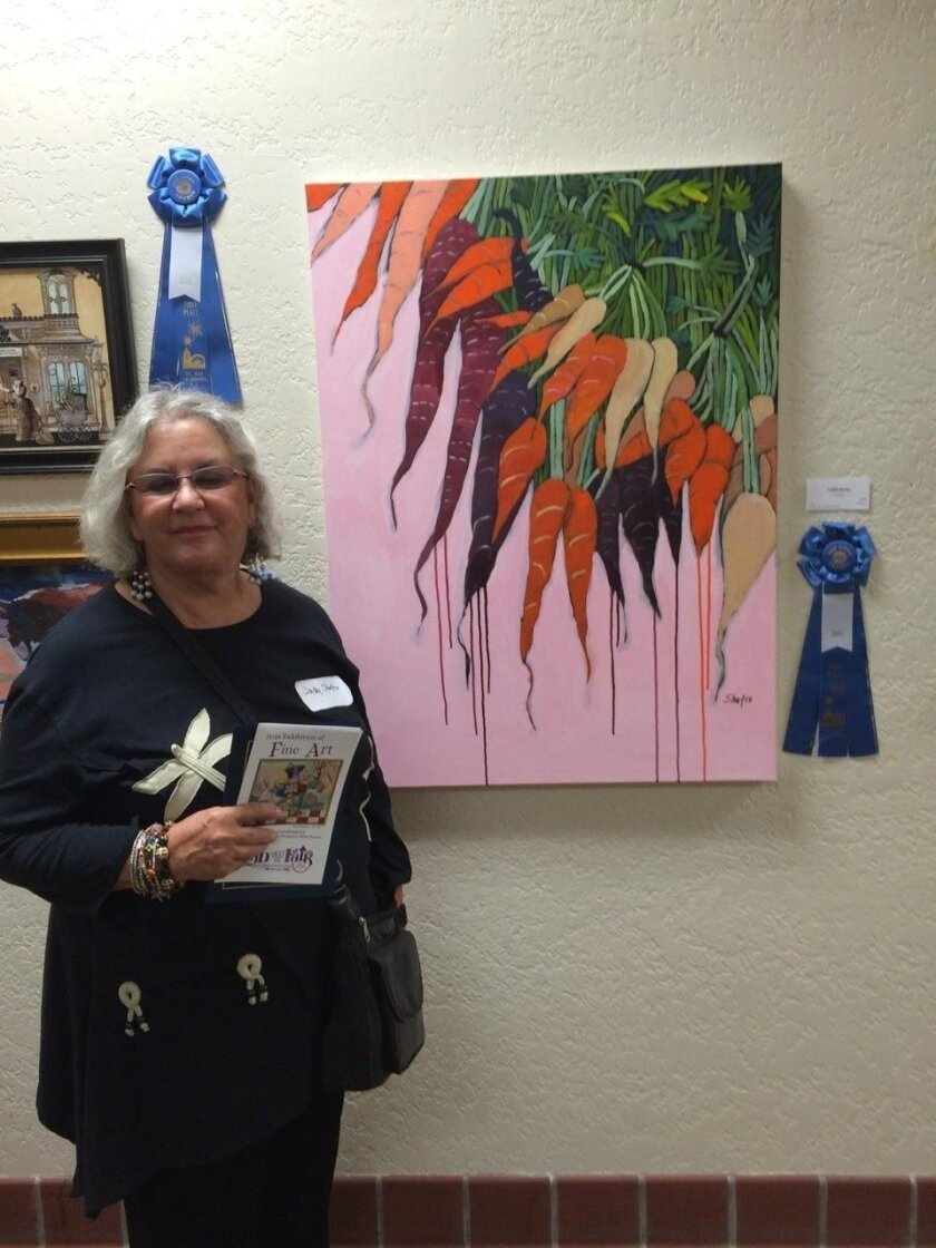Judy Shufro with her San Diego County Fair-winning 'Carrots'