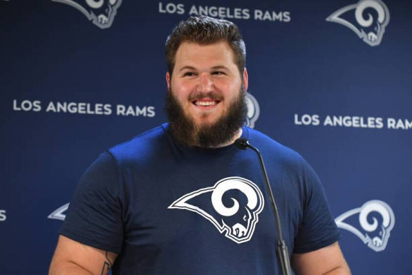 Rams rookie Greg Gaines speaks to reporters  in Thousand Oaks.