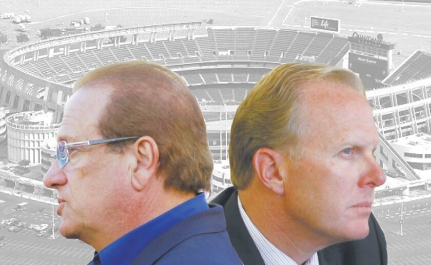 Chargers President Dean Spanos and San Diego Mayor Kevin Faulconer.