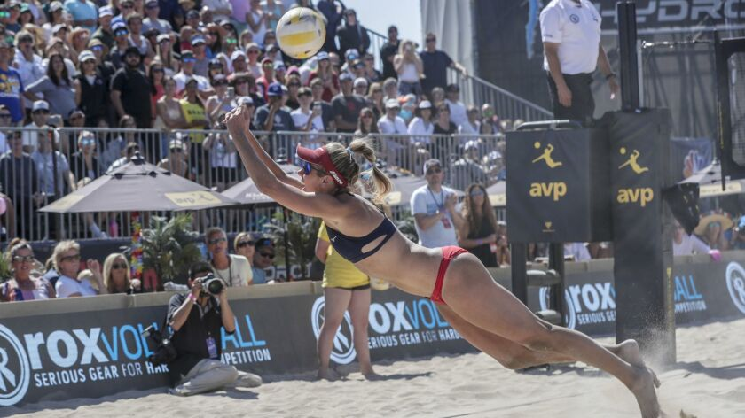 HUNTINGTON BEACH, CA, SUNDAY, MAY 5, 2019 - April Ross dives for the ball during the Women's final m