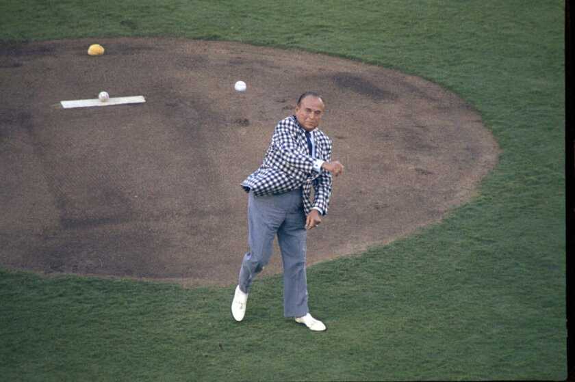 July 11, 1978 -- Ray Kroc throws the ceremonial first pitch at the 49th All-Star baseball game at San Diego Stadium. Photo by Jerry Windle / San Diego History Center / Union-Tribune Collection