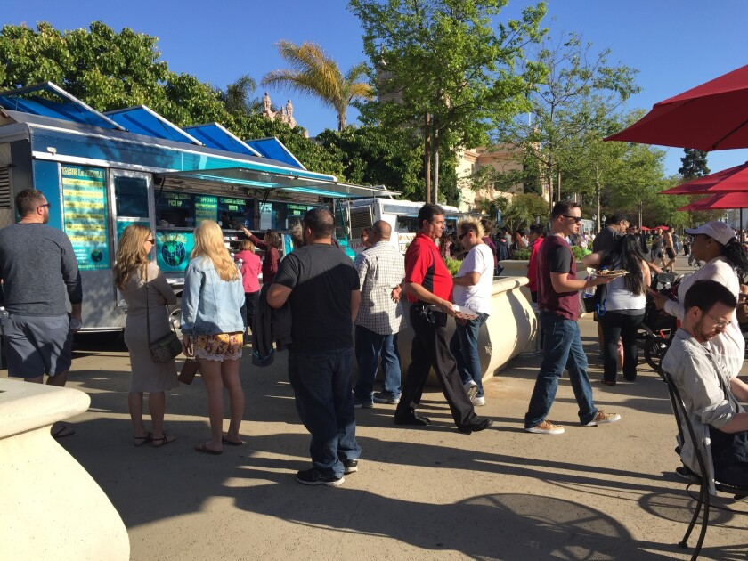 The first Food Truck Friday in April drew about 3,000 to Balboa Park.