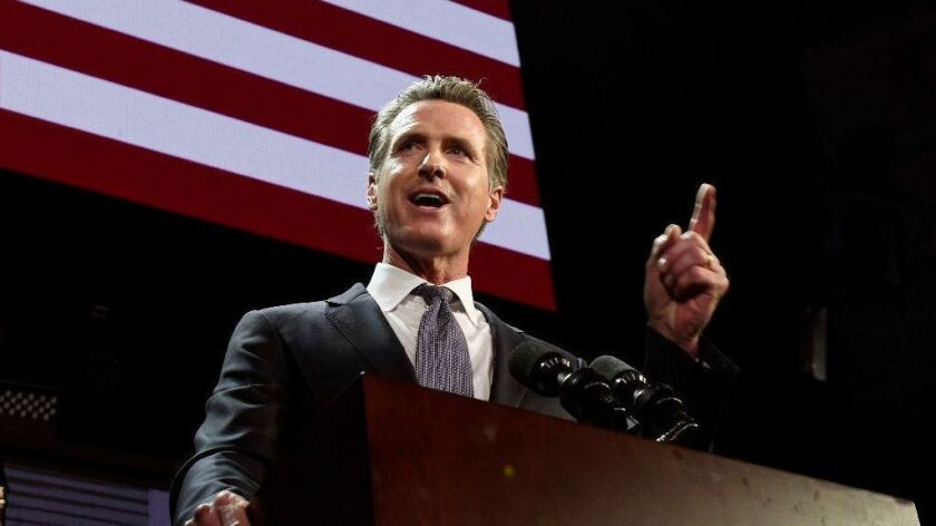 Gavin Newsom speaks at an election-night party in Los Angeles on Nov. 6, 2018.