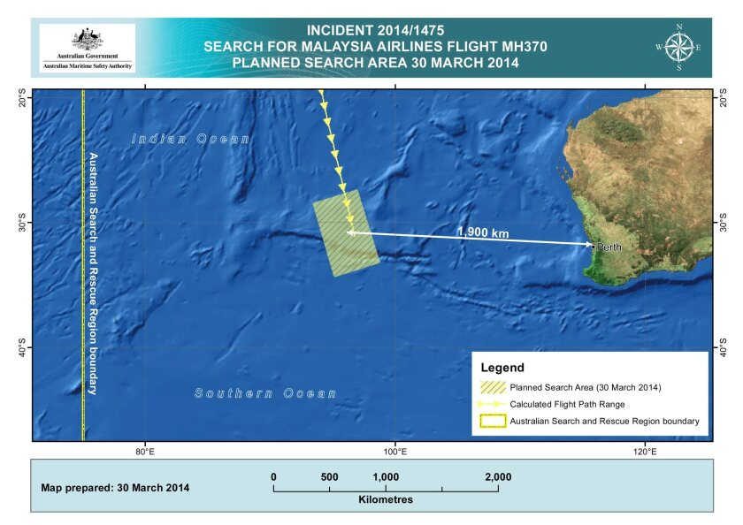 An image released by the Australian Maritime Safety Authority shows the search area in the Indian Ocean, west of Perth, Australia, for the missing Malaysian Airlines flight MH370.