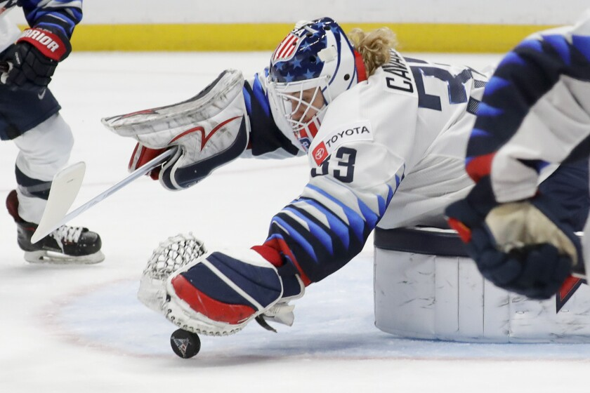 U.S. goalie Alex Cavallini makes a save against Canada during the first period at Honda Center on Feb. 8, 2020.
