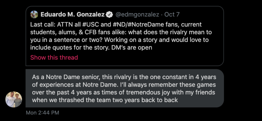 Notre Dame senior Holden Perrelli comments on the USC-ND rivalry on Twitter.