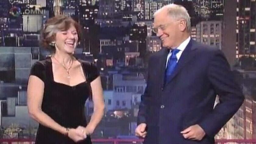 Comedienne Karen Rontowski with David Letterman.