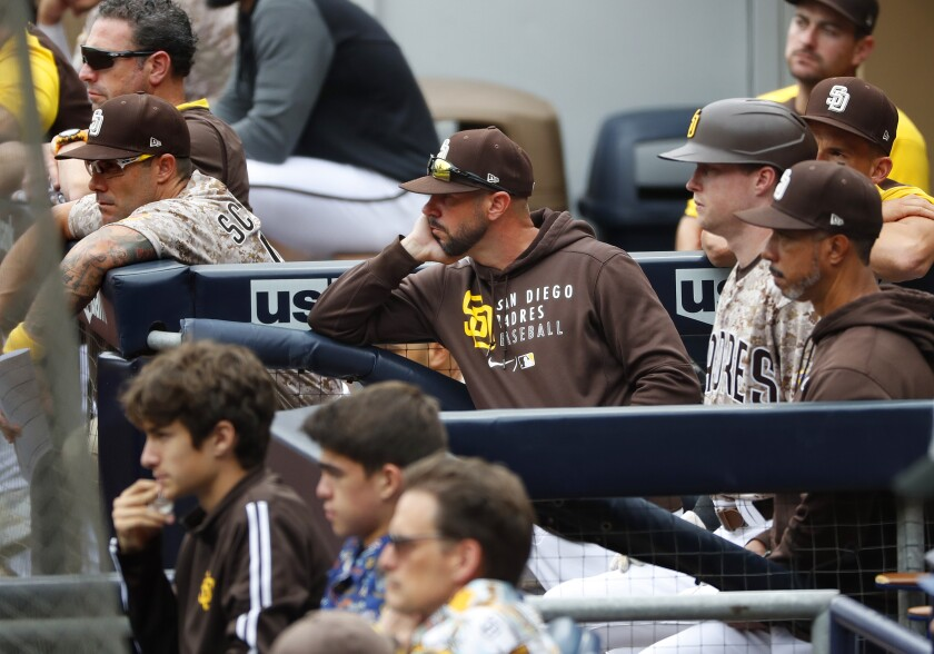 Padres manager Jayce Tingler looks on during Sunday's game against the Atlanta Braves.