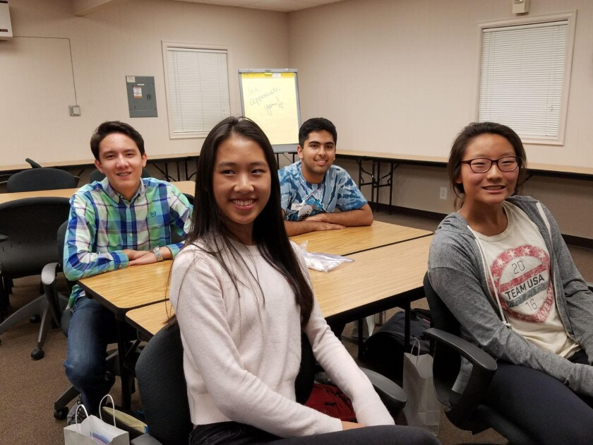 Back row, Mason Holst, Sauhaardha Chowdhuri; front, Kaitlyn Wang, Emily Kang. They were among eight students from San Diego County who were chosen to compete recently in the International Science and Engineering Fair in Phoenix.