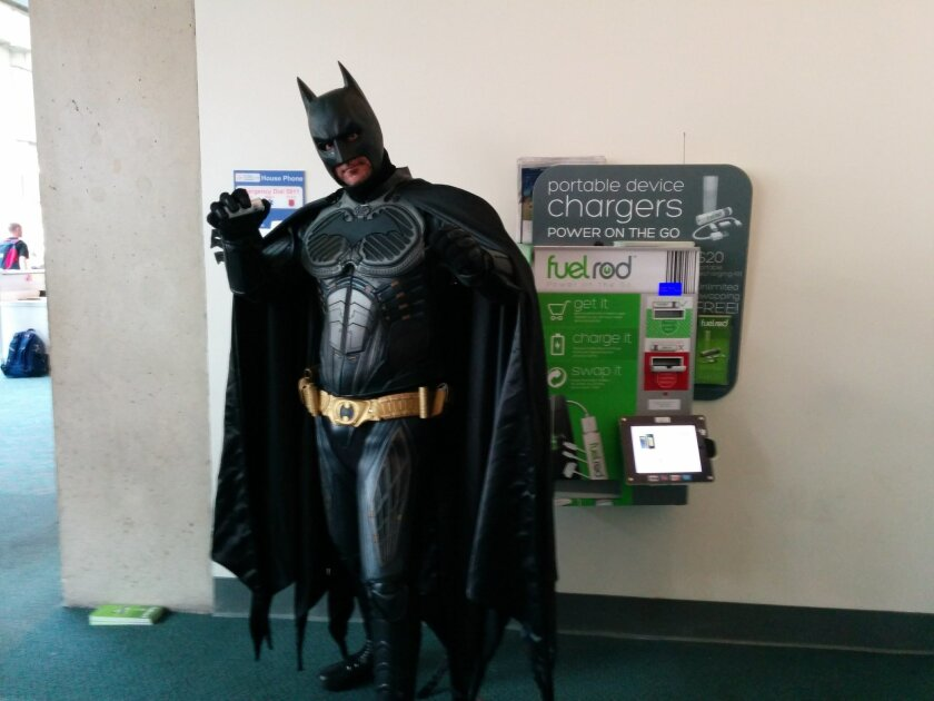Even Batman needs energy. These new automated kiosks at the San Diego Convention Center dispense battery chargers for mobile phones and laptops.