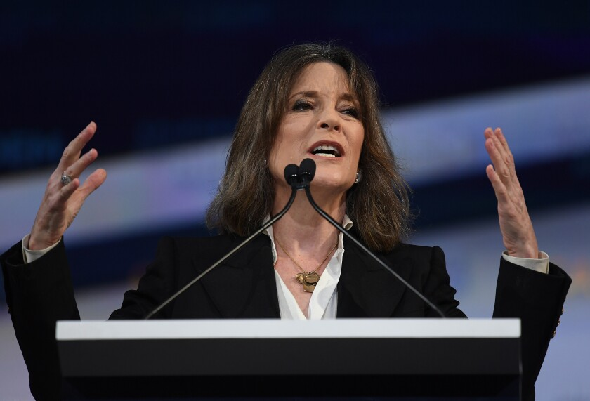 Marianne Williamson speaks at the California Democratic Party convention in Long Beach in November.