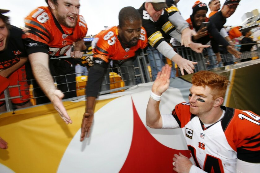 Cincinnati Bengals quarterback Andy Dalton (14) celebrates with fans as he leaves the field after a 16-10 win over the Pittsburgh Steelers in an NFL football game in Pittsburgh, Sunday, Nov. 1, 2015. (AP Photo/Gene J. Puskar)