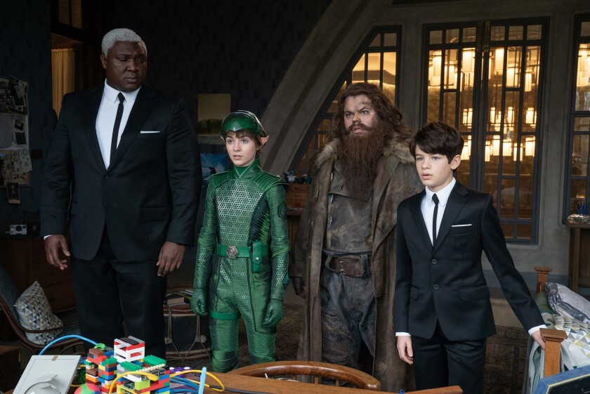 "Nonso Anozie, Lara McDonnell, Josh Gad and Ferdia Shaw in ""Artemis Fowl."""
