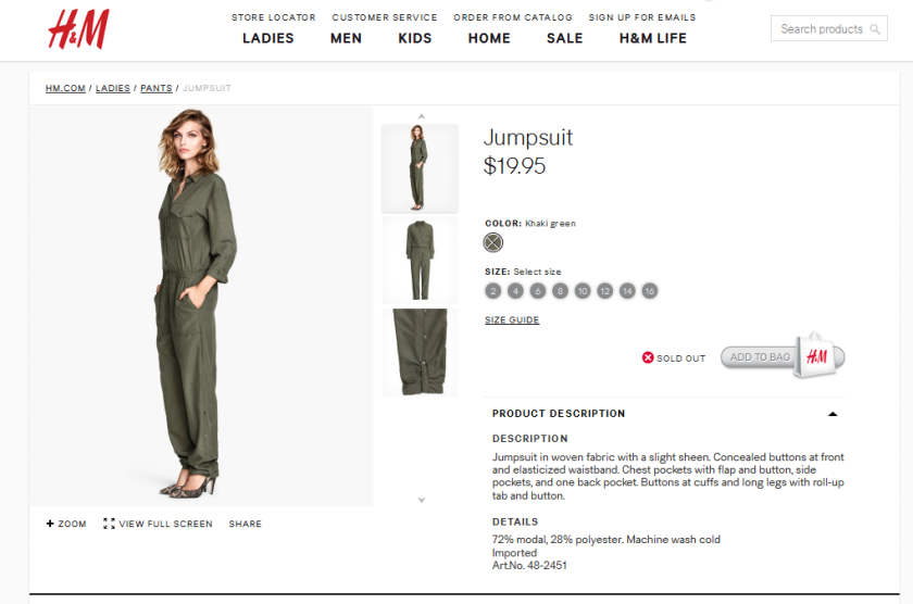 A screen grab from H&M's online catalog, showing the jumpsuit that some Kurds say is modeled after their fighters' uniforms.