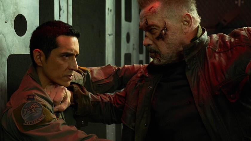 "Gabriel Luna, left, and Arnold Schwarzenegger in ""Terminator: Dark Fate."""