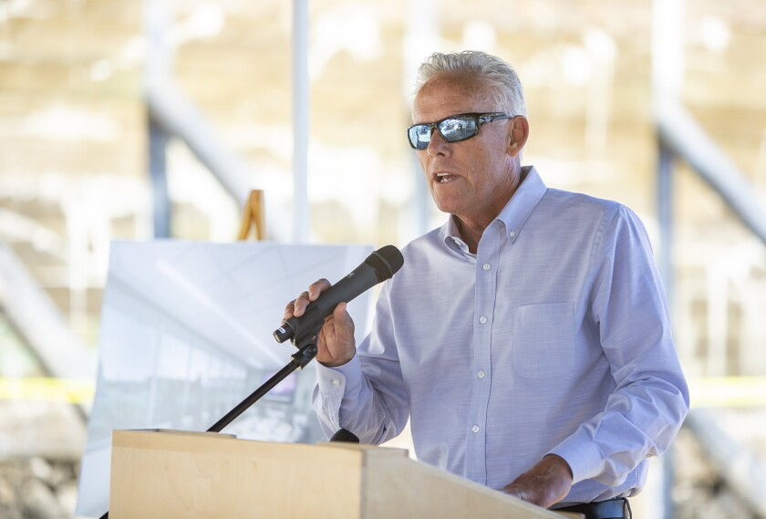 Brad Avery, Orange Coast College's director of marine programs and a Newport Beach city councilman, speaks during Monday's groundbreaking ceremony for the college's new two-story, 12,000-square-foot Professional Mariner Training Center in Newport.
