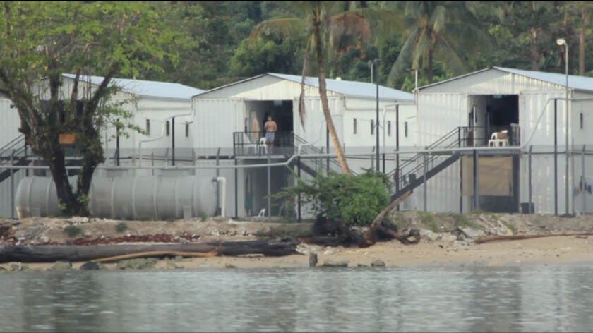 "A still image from the documentary ""Chasing Asylum,"" shows housing units on Manus Island."