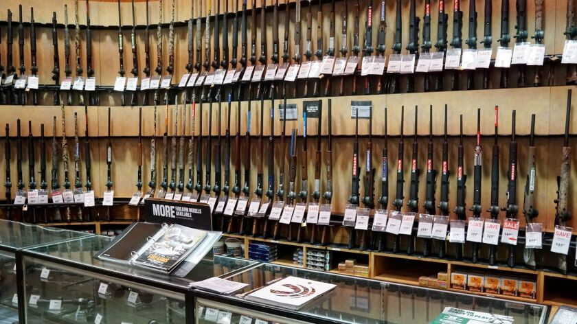 The gun department in a Dick's Sporting Goods store in Arlington, Va. on March 1, 2018.